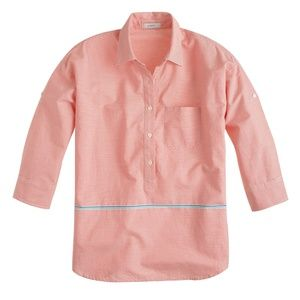 J. Crew Boyfriend Popover Coral Striped Shirt Top